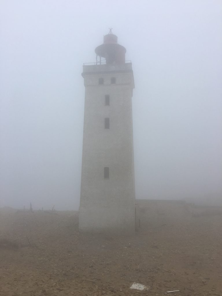 The lighthouse in the fog.